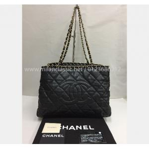 SOLD - CHANEL Black Leather Gold-Tone Shoulder Bag