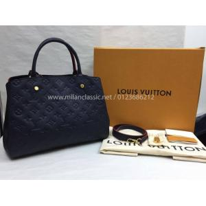 SOLD - NEW - LV Montaigne MM Monogram Empreinte Leather Marine Rouge Color