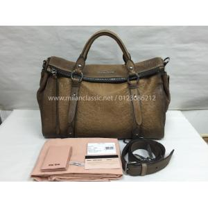 NEW - Miu Miu Brown Nappa Leather Zipped 2-Way Bag