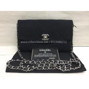 CHANEL Black Fabric Classic Clutch With Chain Silver-Tone Hardware