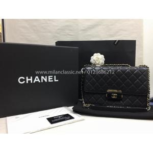 CHANEL Black Leather Flap Bag GHW