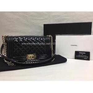 SOLD - CHANEL Medium Boy Black Patent Leather With Gold-Tone Metal