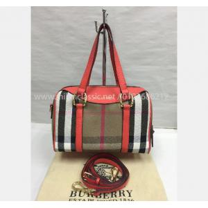 SOLD - BURBERRY Alchester Bowling Bag with Leather Strap