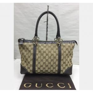 GUCCI Canvas Brown Leather Trim Tote Bag