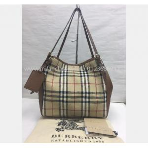 SOLD - BURBERRY Brown Leather Canvas Shoulder Bag