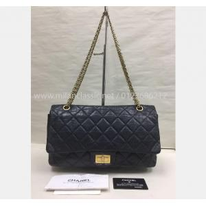 CHANEL Black Aged Calfskin 2.55 Reissue 227 Double Flap GHW Bag