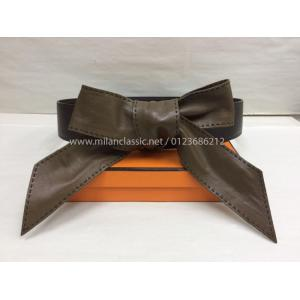 "Hermes Ebene Leather Front Tie Belt ""K"""