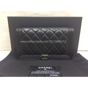 NEW - CHANEL Boy Lambskin With Silver-Tone Metal Flap Wallet