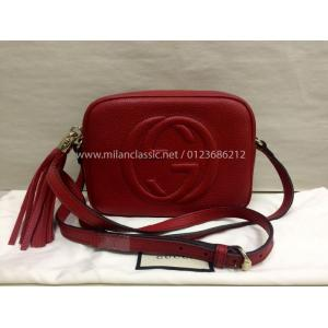 NEW - GUCCI Soho Disco Red Grained Leather Crossbody Bag