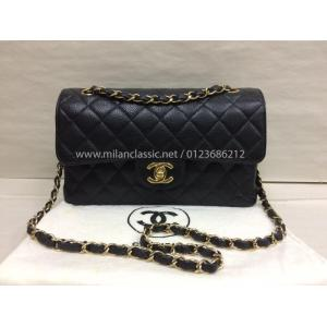 SOLD - CHANEL Classic Medium (9 inches) Double Flap Grained Calfskin (Caviar Leather) With Gold-Tone Metal