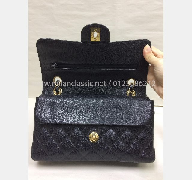 84209a996d01 SOLD - CHANEL Classic Medium (9 inches) Double Flap Grained Calfskin  (Caviar Leather) With Gold-Tone Metal