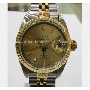 ROLEX 69173 Ladies Champagne Dial With Special Palm Tree & Sword Logo Auto 18K/SS 26mm