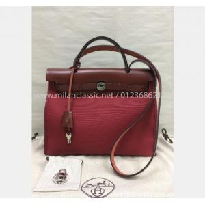 HERMES Herbag Small In Red Canvas With Pouch