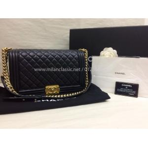 SOLD - CHANEL New Medium Boy Black Lambskin With Gold Ruthenium Hardware