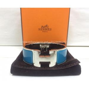 HERMES Clic Clac H Palladium-Plated Light Blue Enamel