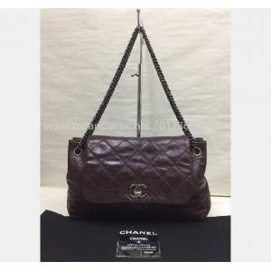 CHANEL Maroon Single Flap With Silver-Tone Metal