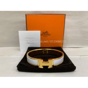 NEW - HERMES Clic Clac H White Enameled Gold Plated Bracelet