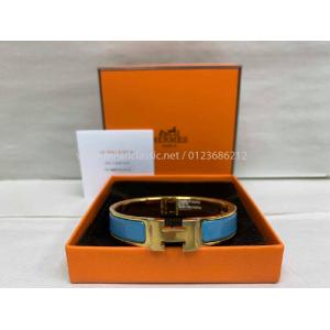 NEW - HERMES Clic Clac H Blue Enameled Gold Plated Bracelet