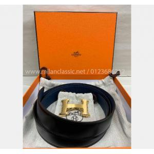 SOLD - NEW - HERMES BELT Togo Leather 32mm Blue/Black Gold-Tone Metal H Buckle