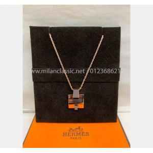 NEW - HERMES Grey Eileen Pendant Rose Gold Plated Necklace
