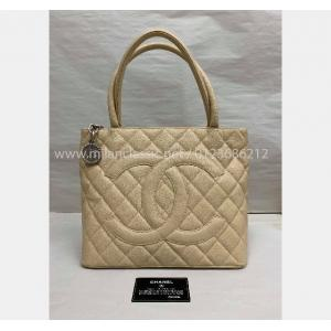 SOLD - CHANEL Beige Caviar Leather Medallion Tote
