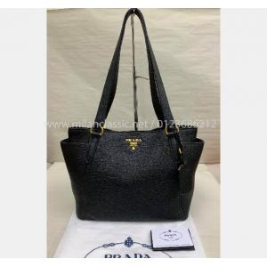 NEW - PRADA Black Leather Shoulder Bag