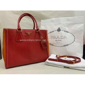 PRADA Saffiano Lux Bicolor Ew Tote In Red