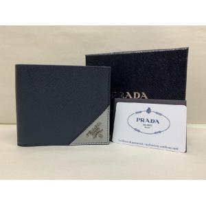 PRADA Saffiano Leather Baltic Blue/Granite Gray Wallet