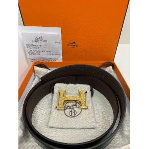 SOLD - NEW - HERMES BELT Togo Leather 32mm Black/Choco Gold-Tone Metal H Buckle