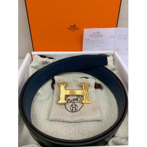 NEW - HERMES H Strie Buckle Belt Buckle & Reversible Leather Strap 32mm