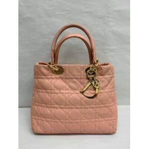 CHRISTIAN DIOR Pink Quilted Leather Handbag