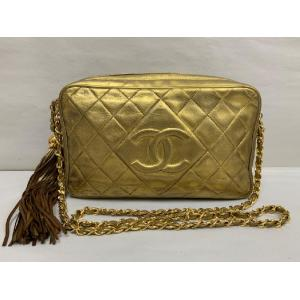 CHANEL Gold Leather Long Chain Bag With Tassel