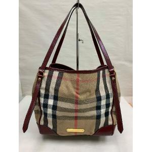 BURBERRY Maroon Leather Bridle House Check Canvas Canterbury Tote Bag