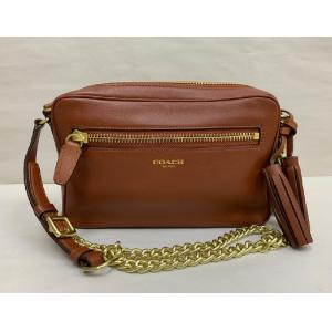 COACH Legacy Brown Leather Sling Bag With Tassel
