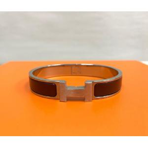 SOLD - HERMES Red Silver Palladium Enamel Narrow Clic Clac Bracelet