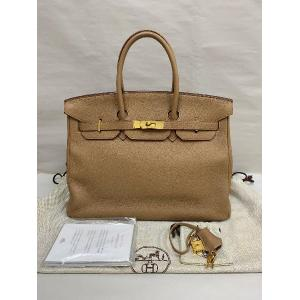 HERMES Birkin 35 Gold Brown Togo Leather Bag