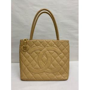 CHANEL Brown Caviar Leather Medallion Tote