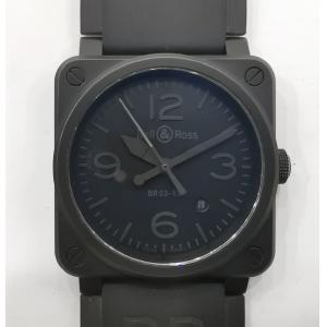 BELL & ROSS BR03-92 Aviation Phantom All Black Dial Rubber Strap Auto 42mm (With Card + Box)