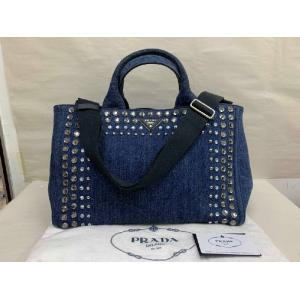 PRADA Blue Denim Crystal 2-Way Bag