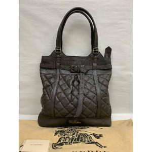 BURBERRY Prorsum Dark Brown Leather Shoulder Tote Bag