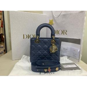 NEW - CHRISTIAN DIOR Blue Cannage Lambskin Mini Lady Dior Bag
