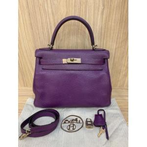 HERMES Kelly 28 Anemone Purple Togo Leather Bag