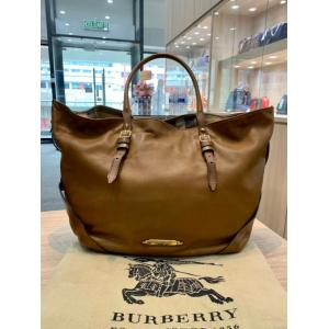 BURBERRY Brown Leather Shoulder Tote Bag