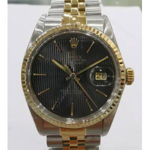 SOLD - ROLEX 16013 Tapestry Black Dial 18K/SS Auto 36mm