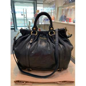 Miu Miu Black Calfskin 2-Way Tote Bag