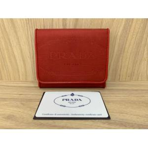 NEW - Prada Red Nylon 3 Campartments Wallet