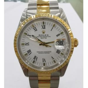RESERVED - ROLEX 15223 White Dial Roman Letter 18K/SS 34mm