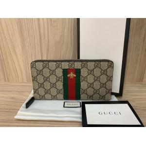 NEW - GUCCI GG Supreme Webbing Bee Zip Around Long Wallet