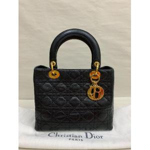 CHRISTIAN DIOR Black Lambskin Lady Dior Bag