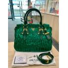 NEW - Prada Green Nylon Zipped Gaufre 2-Way Bag